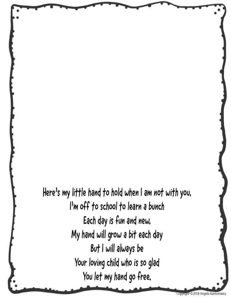 First Day Of School Handprint Poem