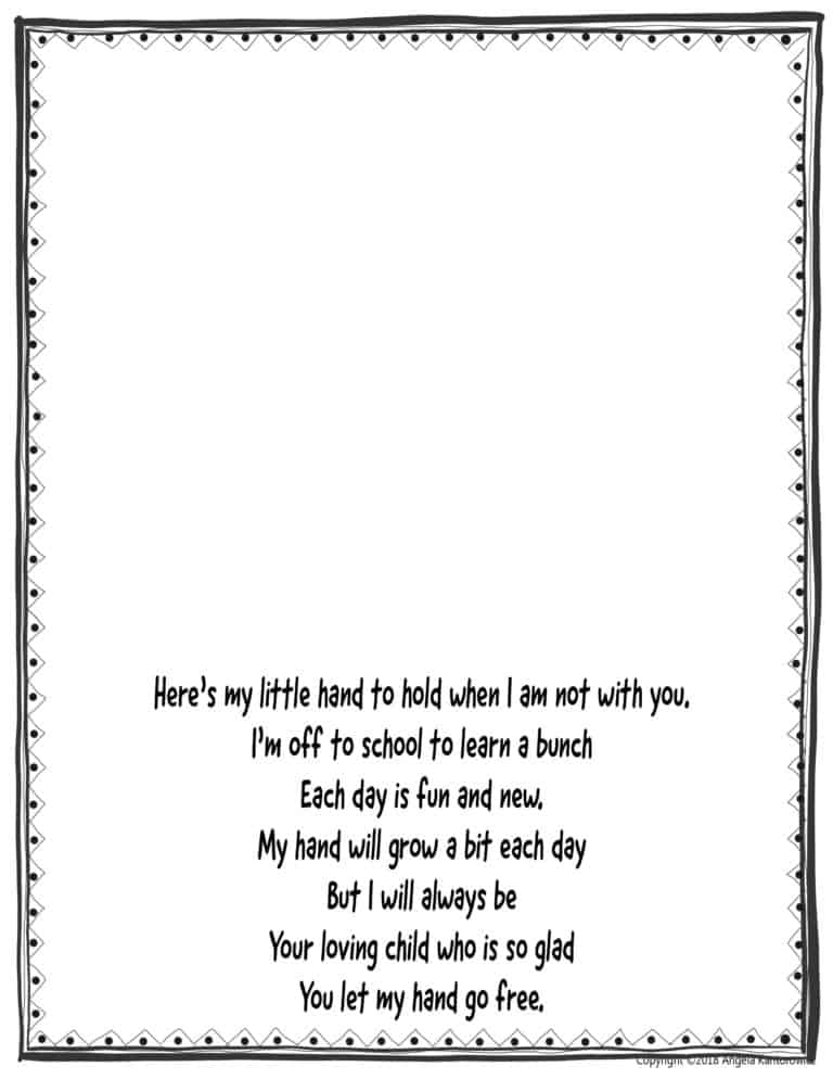 Adaptable image within handprint poem printable