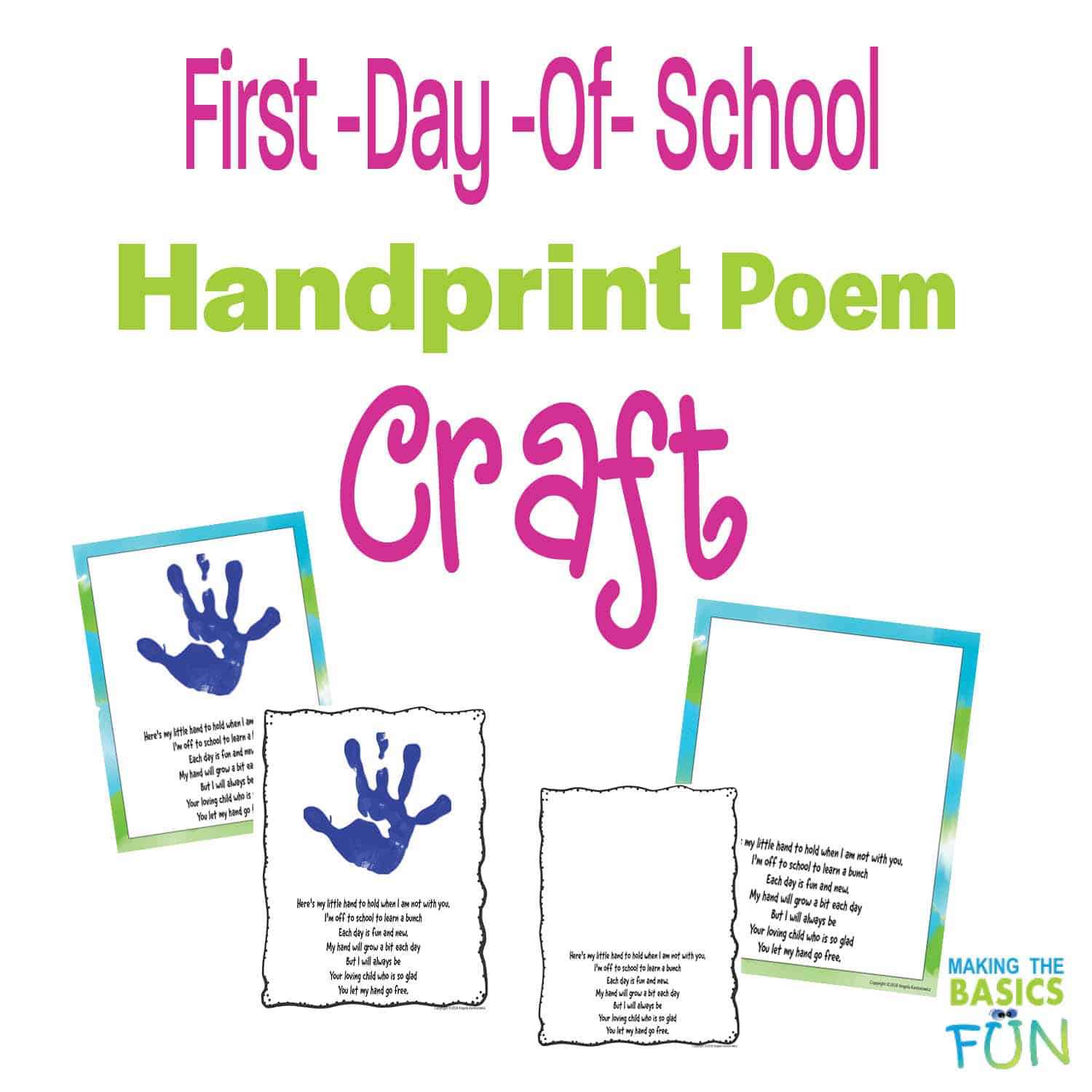Hand Poem Activity For Back-To-School