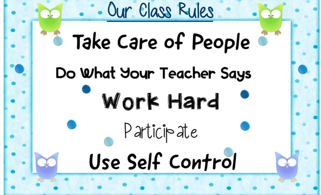 classroom chants to establish rules and expectations